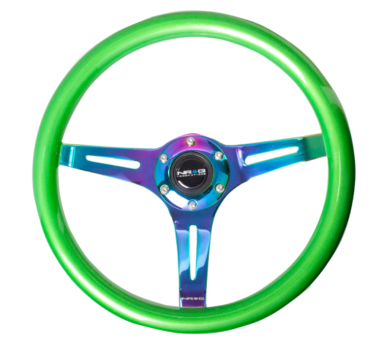 NRG Green 350mm Woodgrain Steering Wheel
