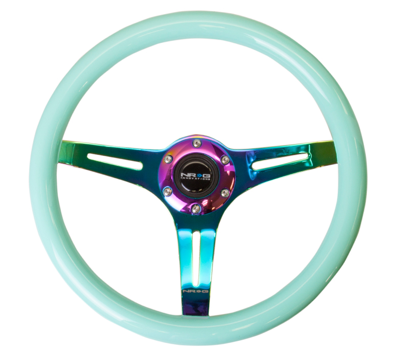 NRG Minty Fresh Wood Grain 350mm Steering Wheel: NeoChrome Center