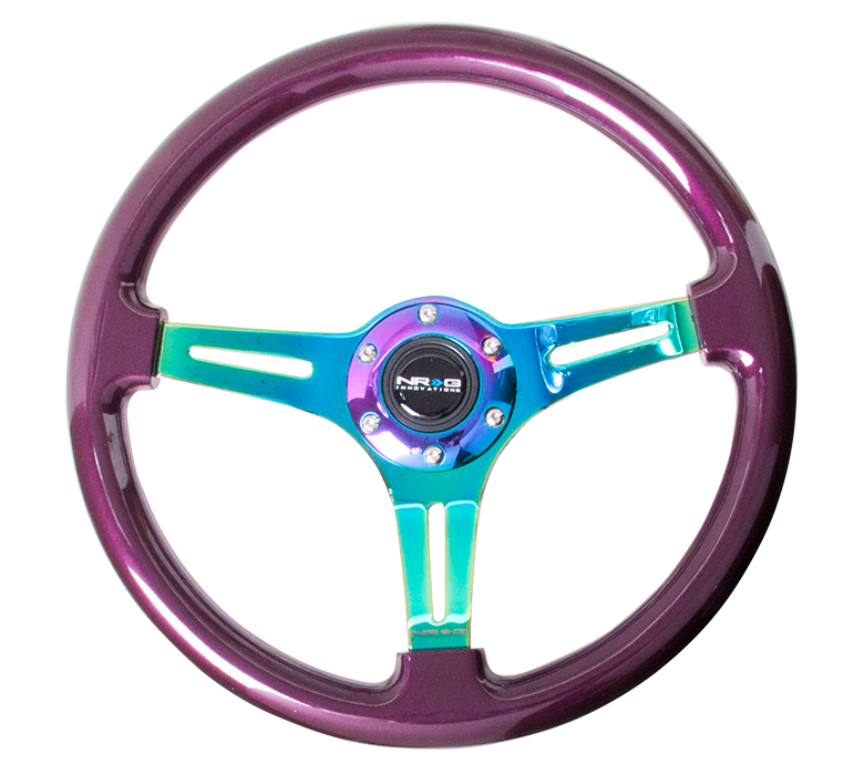 NRG Purple 350mm Woodgrain Steering Wheel