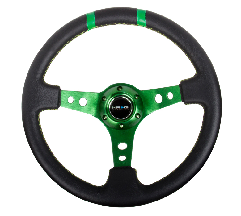 NRG Deep Dish Sport 350mm Steering Wheel: Green Center w/ Green Markers