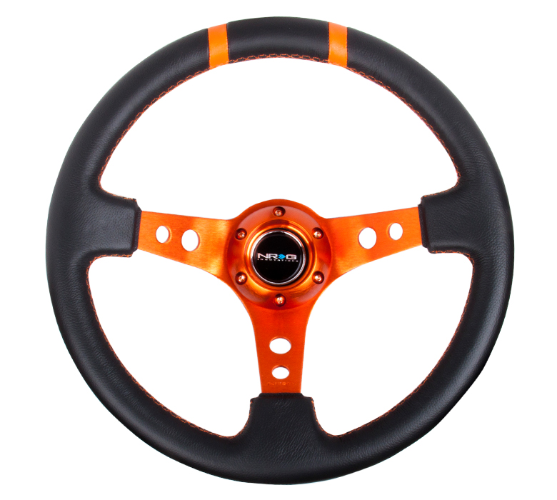 NRG Deep Dish Sport 350mm Steering Wheel: Orange Center and Markers