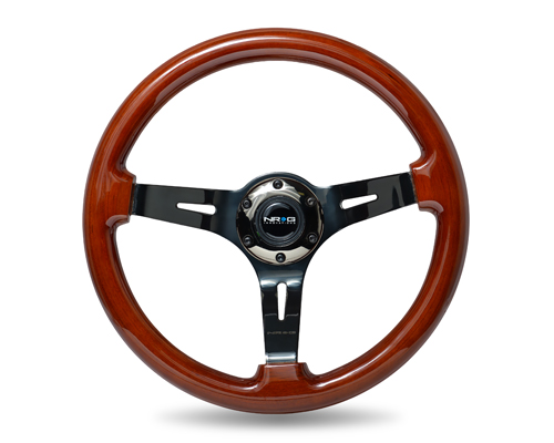 NRG Deep Dark Wood Grain 350mm Steering Wheel: Black Chrome