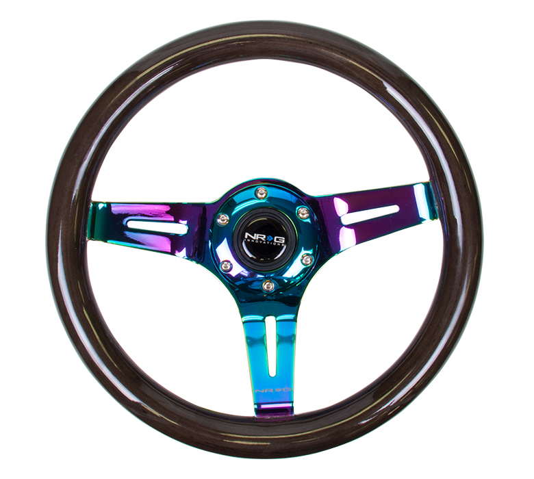 NRG Classic Black Wood Grain 310mm Steering Wheel: Neochrome Center