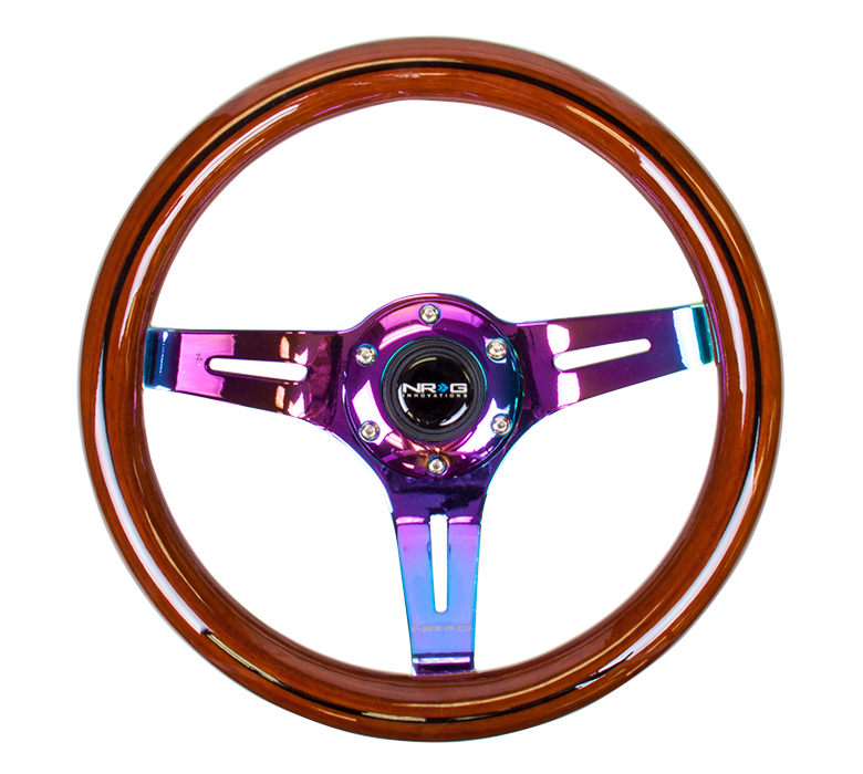 NRG 310mm Classic Dark Wood Grain Steering Wheel: Neochrome Center
