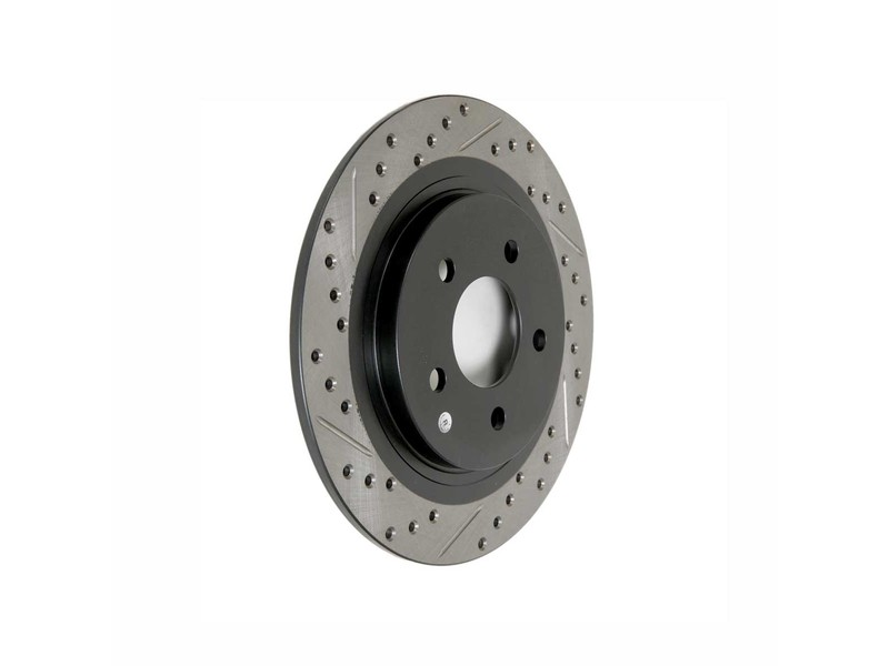 StopTech Drilled and Slotted Rear Rotor: Driver/Left
