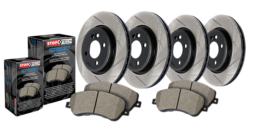 StopTech 04-08 TL With Brembo Front And Rear Street Pack Slotted Brake Kit