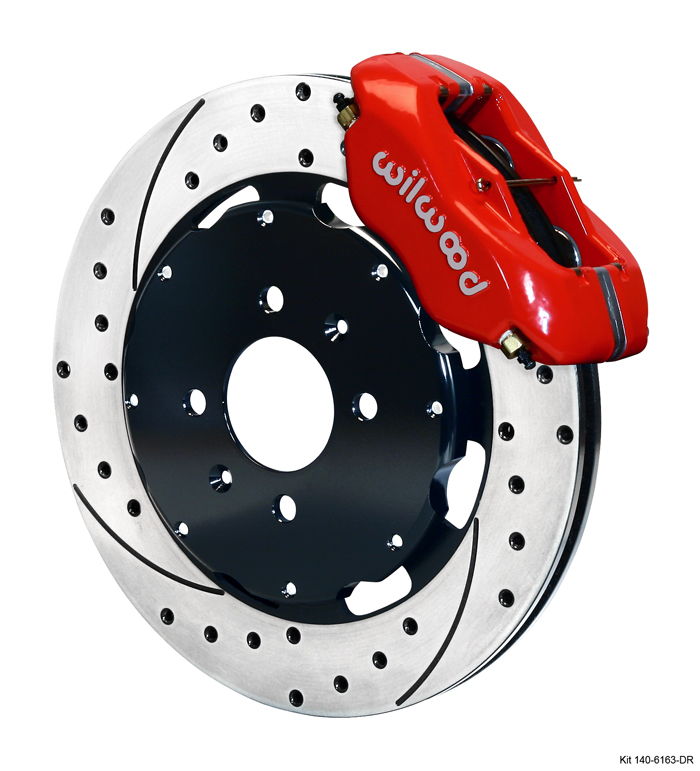 Wilwood 4 Piston Dynalite Front BBK: Red Caliper/Drilled Rotor-A1