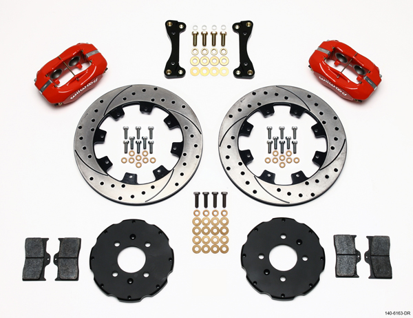 Wilwood 4 Piston Dynalite Front BBK: Red Caliper/Drilled Rotor-A2
