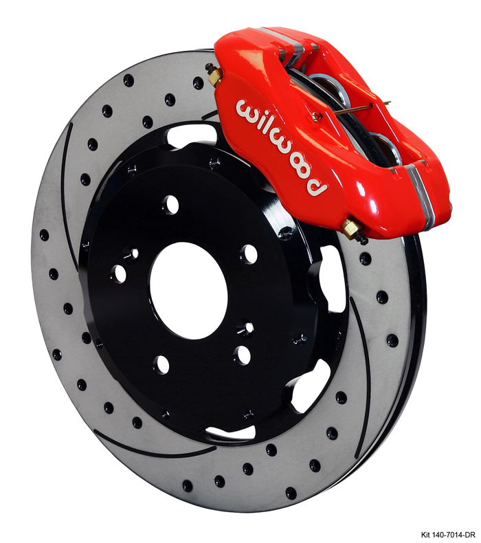 Wilwood 4 Piston Dynalite Front BBK: Red Caliper/Drilled Rotor