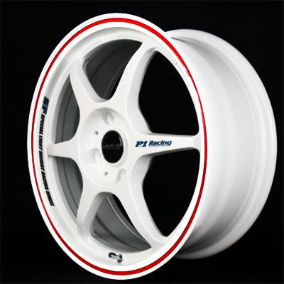 Buddy Club White With Red Challenge Wheel 18x8.5
