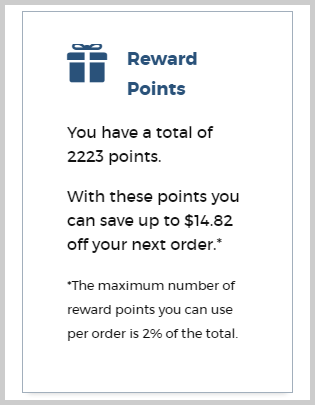 K Series Parts Reward Points - Account