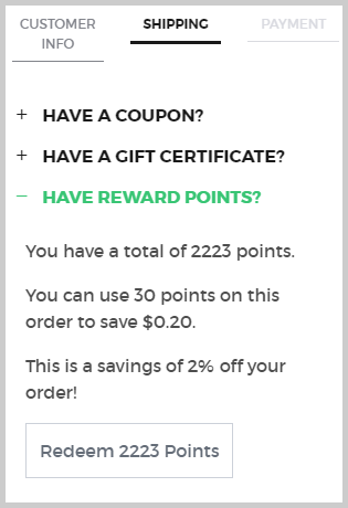K Series Parts Reward Points - Checkout