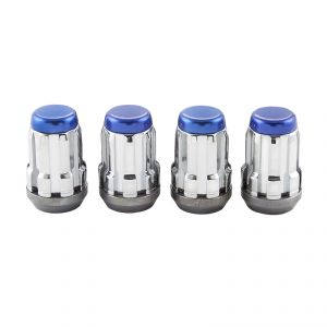 McGard Chrome SplineDrive Lug Nuts With Blue Caps: 4 Pack M12 x 1.5