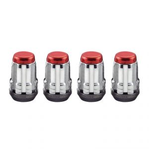 McGard Chrome SplineDrive Lug Nuts With Red Caps: 4 Pack M12 x 1.5