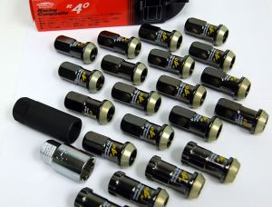 Project Kics Racing Composite R40 Black Chrome Lug Nuts M12 x 1.5