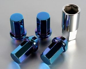 Project Kics Heptagon Caliber 24 Titanium Blue Lug Nuts M12 x 1.5