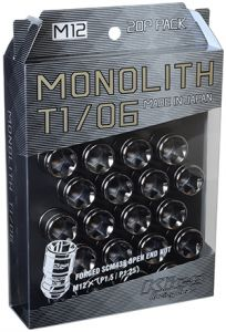 Project Kics M12x1.5 Glorious Black T1/06 Monolith Lug Nuts (20 Pack)