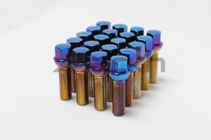 Mevius Blue Neon 50mm Lug Bolts 20 Pack M14 x 1.5 Ball Style