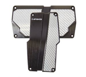 NRG Black with Silver Carbon Fiber Aluminum Automatic Sport Pedals