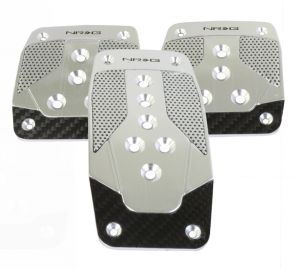 NRG Silver with Black Carbon Fiber Aluminum Manual Sport Pedals