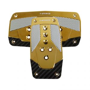 NRG Chrome Gold Black Carbon Fiber Aluminum Automatic Sport Pedals
