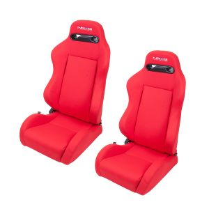 NRG Red With Red Stitching Type-R Cloth Sport Seats (Pair)