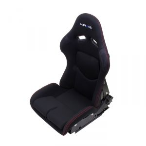 NRG Black and Red Stitching Reclinable FRP Bucket Seat
