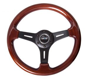 NRG Classic Woodgrain Black Spoke 330mm Steering Wheel