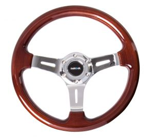 NRG Classic Woodgrain Chrome Spoke 330mm Steering Wheel