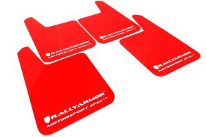 Rally Armor Universal MSpec Mud Flaps Red w/ White Logo