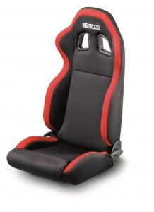 Sparco R100 Tuner Seat: Black w/ Red Trim