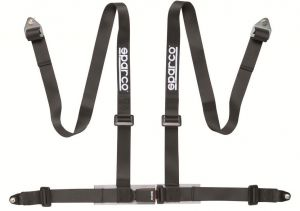 "Sparco 2"" 4 Point Bolt-In Harness: Black"