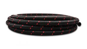 Vibrant Red Two-Tone Nylon Braided Flex Hose: -6 AN 10 Foot Roll