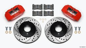 Wilwood 90-01 Integra Red Forged DPHA Front Caliper Kit Drilled Rotors